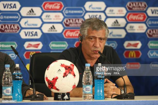 Fernando Santos the coach of Portugal faces the media during a press conference at Spartak Stadium on June 20 2017 in Moscow Russia