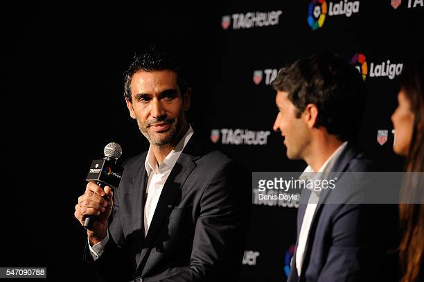 Fernando Sanz former player and Managing Director of la Liga in the middle East and Africa answers questions beside Raul Gonzalez former Real Madrid...