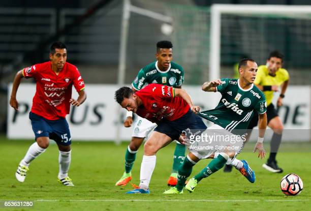 Fernando Saucedo L0 of Jorge Wiltersmann and Alejandro Guerra of Palmeiras in action during the match between Palmeiras of Brazil and Jorge...