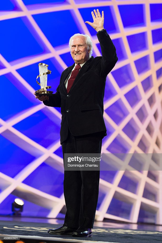 Fernando Solanas poses after he receives a tribute award during the 13th Marrakech International Film Festival on December 5, 2013 in Marrakech, Morocco.