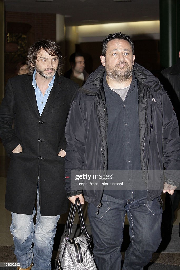 Fernando Tejero (L) and Pepon Nieto (R) attend the funeral chapel for actor Fernando Guillen at Tres Cantos Chapel on January 17, 2013 in Madrid, Spain.