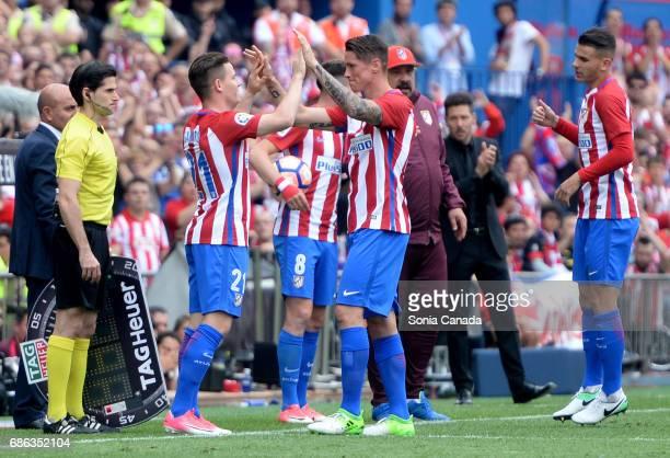 Fernando Torres #9 of Atletico de Madrid and Gameiro #21 of Atletico de Madrid during The La Liga match between Club Atletico de Madrid and Athletic...