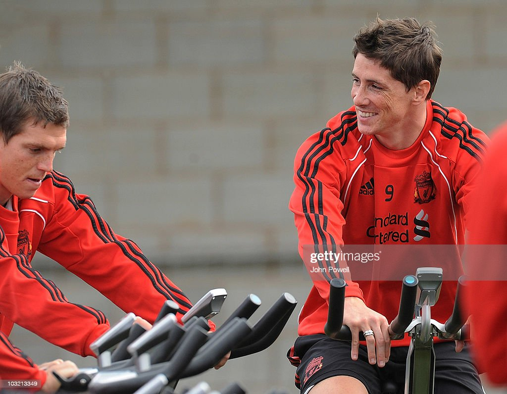 Fernando Torres and <a gi-track='captionPersonalityLinkClicked' href=/galleries/search?phrase=Daniel+Agger&family=editorial&specificpeople=605441 ng-click='$event.stopPropagation()'>Daniel Agger</a> of Liverpool during a training session at Melwood training ground on August 3, 2010 in Liverpool, England.