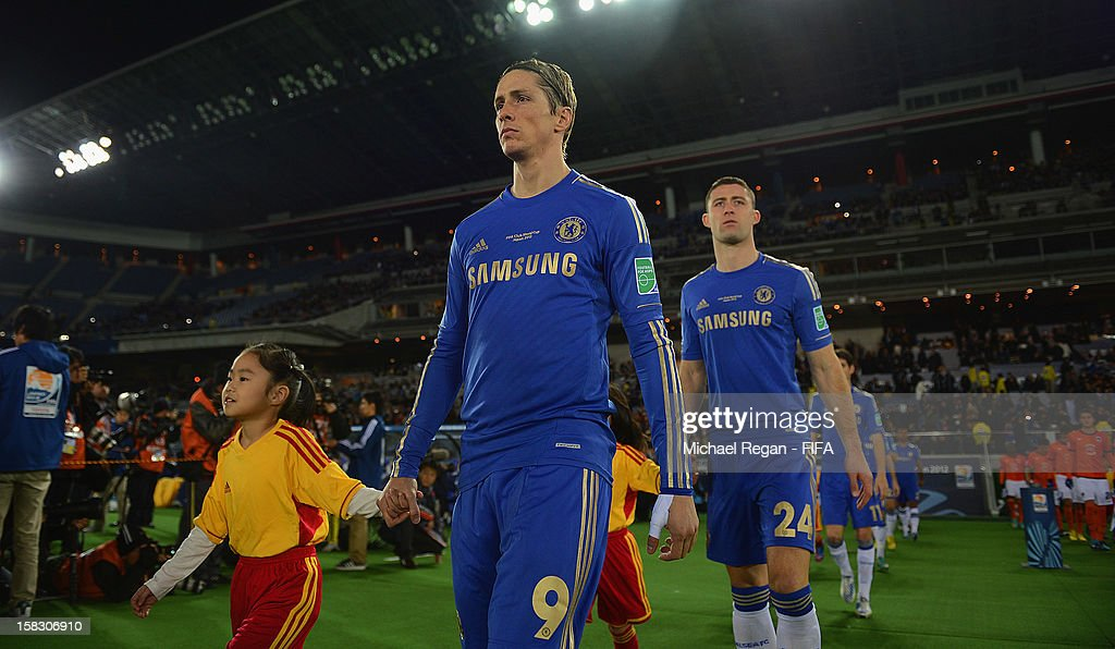 Fernando Torres and Gary Cahill of Chelsea emerge from the tunnel before the FIFA Club World Cup Semi Final match between CF Monterrey and Chelsea at International Stadium Yokohama on December 13, 2012 in Yokohama, Japan.