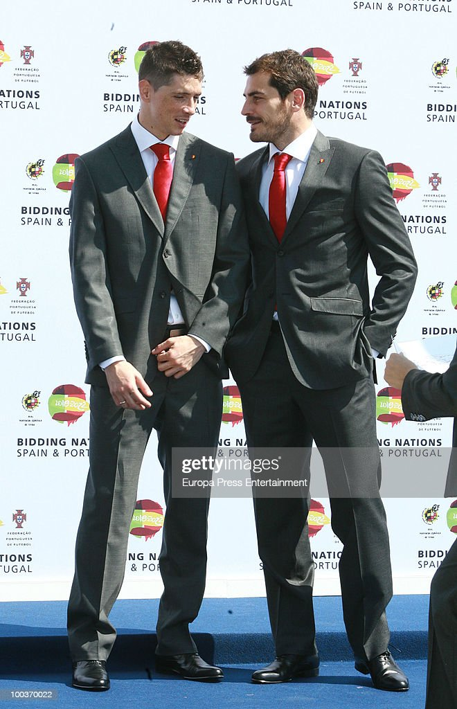 Fernando Torres (L) and Iker Casillas (R) attend the opening of the Spanish Football Federation Museum on May 24, 2010 in Madrid, Spain.