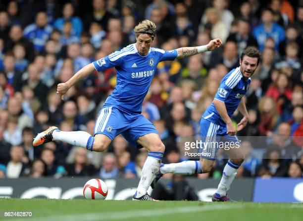 Fernando Torres and Juan Mata of Chelsea in action during the FA Cup 6th Round match between Chelsea and Leicester City at Stamford Bridge on March...