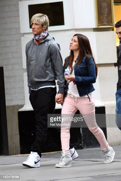 Fernando Torres and Ollala Dominguez sighted shopping at Dolce Gabbana in Knightsbridge on April 5 2012 in London United Kingdom