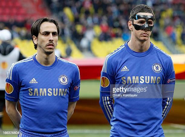 Fernando Torres and Yossi Benayoun of Chelsea FC look on during the UEFA Europa League quarter final second leg match between FC Rubin Kazan and...