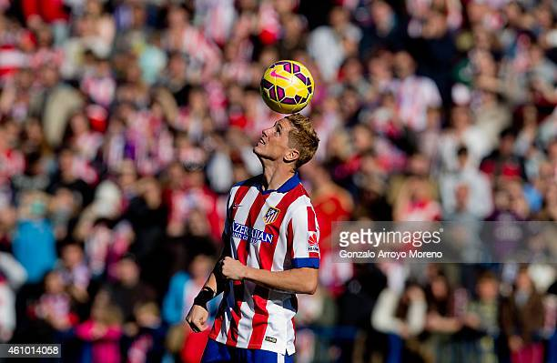 Fernando Torres attends his presentation as the new Club Atletico de Madrid signing at Vicente Calderon Stadium on January 4 2015 in Madrid Spain