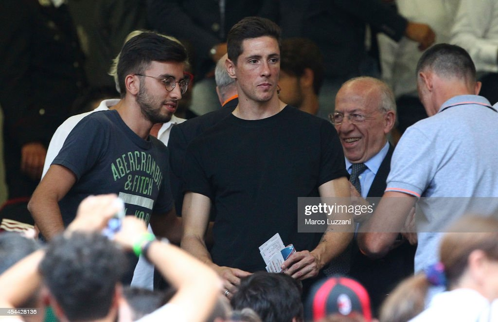 <a gi-track='captionPersonalityLinkClicked' href=/galleries/search?phrase=Fernando+Torres&family=editorial&specificpeople=194755 ng-click='$event.stopPropagation()'>Fernando Torres</a> looks on before the Serie A match between AC Milan and SS Lazio at Stadio Giuseppe Meazza on August 31, 2014 in Milan, Italy.