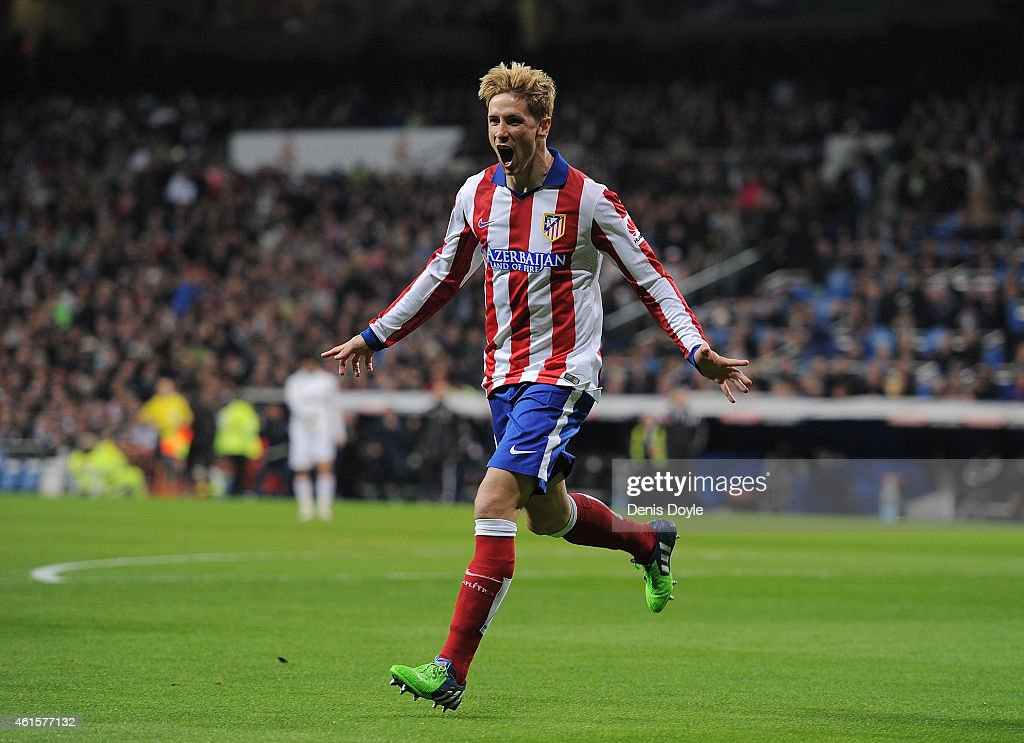 Fernando Torres of Atletico de Madrid celebrates after scoring Atletico's opening goal during the Copa del Rey Round of 16, Second leg match between Real Madrid and Atletico de Madrid at Estadio Santiago Bernabeu on January 15, 2015 in Madrid, Spain.