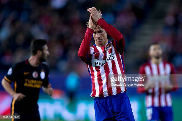 Fernando Torres of Atletico de Madrid claps during the UEFA Champions League Group C match between Club Atletico de Madrid and Galatasaray AS at...