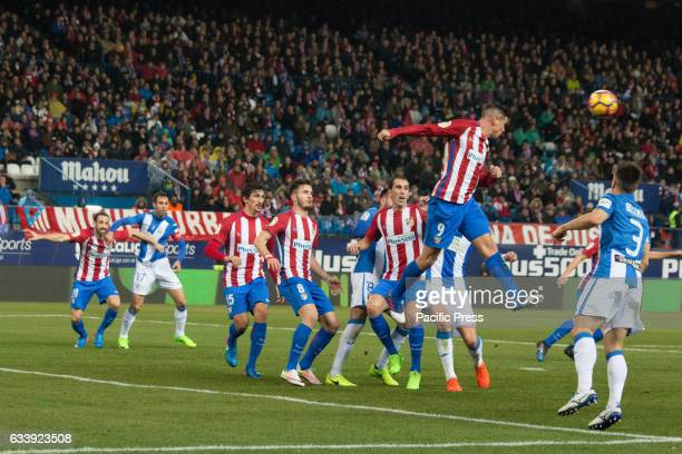 Fernando Torres of Atletico de Madrid heads the ball outside of his area Atletico de Madrid won 2 to 0 in the South Madrid Derby over CD Leganes two...