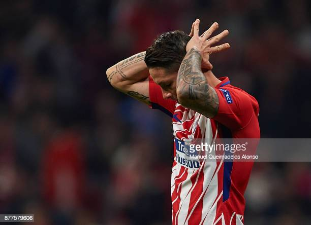 Fernando Torres of Atletico de Madrid reacts during the UEFA Champions League group C match between Atletico Madrid and AS Roma at Estadio Wanda...