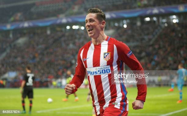 Fernando Torres of Atletico Madrid celebrates after scoring a goal during the UEFA Champions League round of sixteen soccer match between Bayer 04...