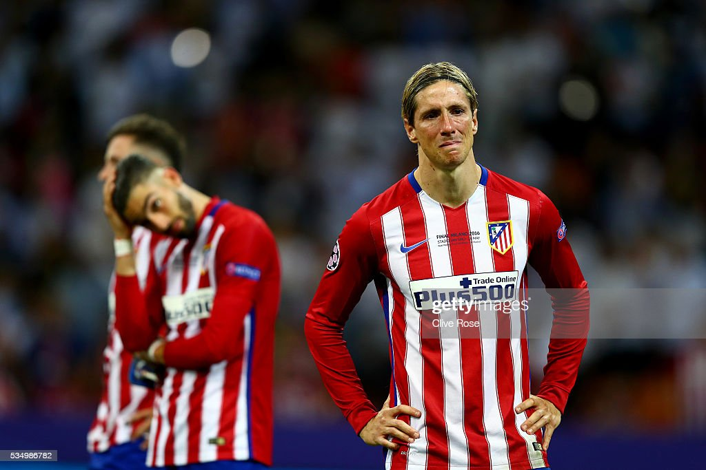 Fernando Torres of Atletico Madrid cries after the UEFA Champions League Final match between Real Madrid and Club Atletico de Madrid at Stadio Giuseppe Meazza on May 28, 2016 in Milan, Italy.