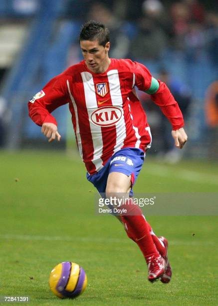 Fernando Torres of Atletico Madrid in action during the Primera Liga match between Atletico Madrid and Getafe at the Vicente Calderon stadium on...
