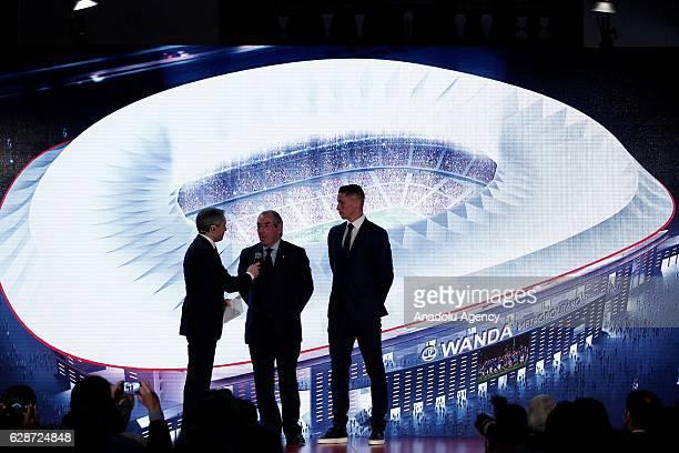 Fernando Torres of Atletico Madrid is seen as President of Atletico Madrid Enrique Cerezo announces the name of their new stadium Wanda Metropolitano...