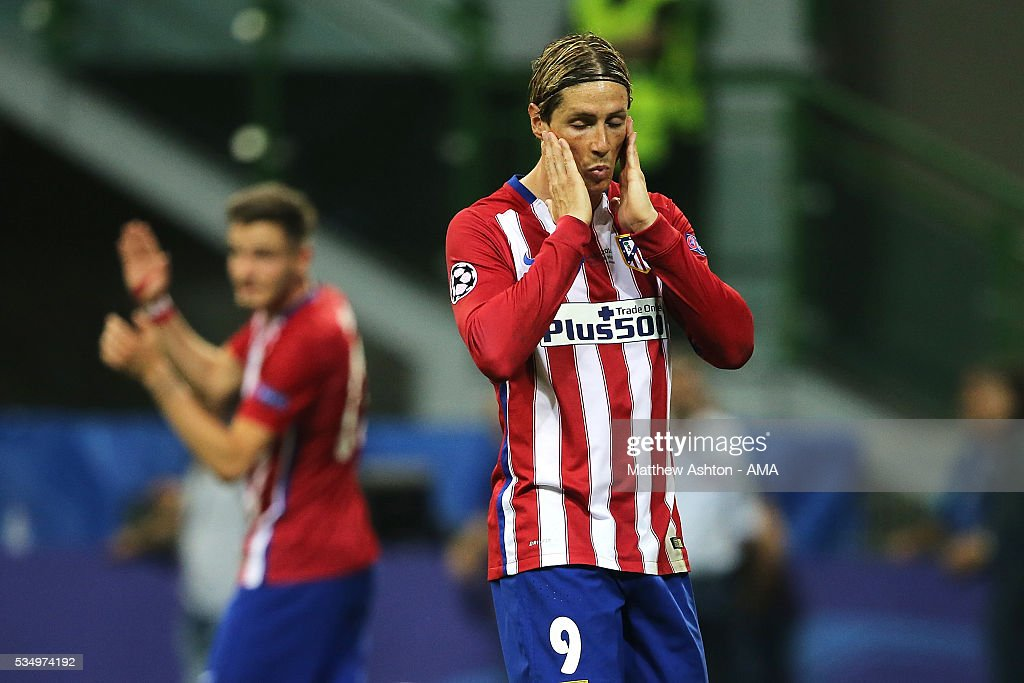 Fernando Torres of Atletico Madrid reacts during the UEFA Champions League final match between Real Madrid and Club Atletico de Madrid at Stadio Giuseppe Meazza on May 28, 2016 in Milan, Italy.