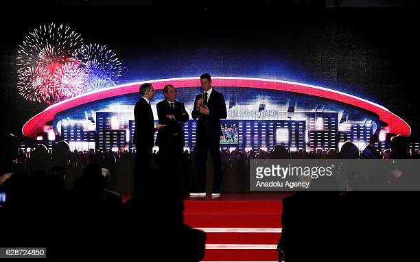 Fernando Torres of Atletico Madrid speaks before President of Atletico Madrid Enrique Cerezo announces the name of their new stadium Wanda...