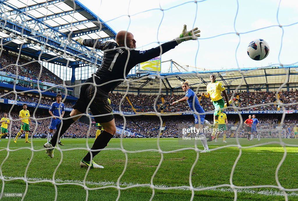 <a gi-track='captionPersonalityLinkClicked' href=/galleries/search?phrase=Fernando+Torres&family=editorial&specificpeople=194755 ng-click='$event.stopPropagation()'>Fernando Torres</a> of Chelsea (centre) beats goalkeeper<a gi-track='captionPersonalityLinkClicked' href=/galleries/search?phrase=John+Ruddy&family=editorial&specificpeople=822348 ng-click='$event.stopPropagation()'>John Ruddy</a> of Norwich City to score their first goal during the Barclays Premier League match between Chelsea and Norwich City at Stamford Bridge on October 6, 2012 in London, England.