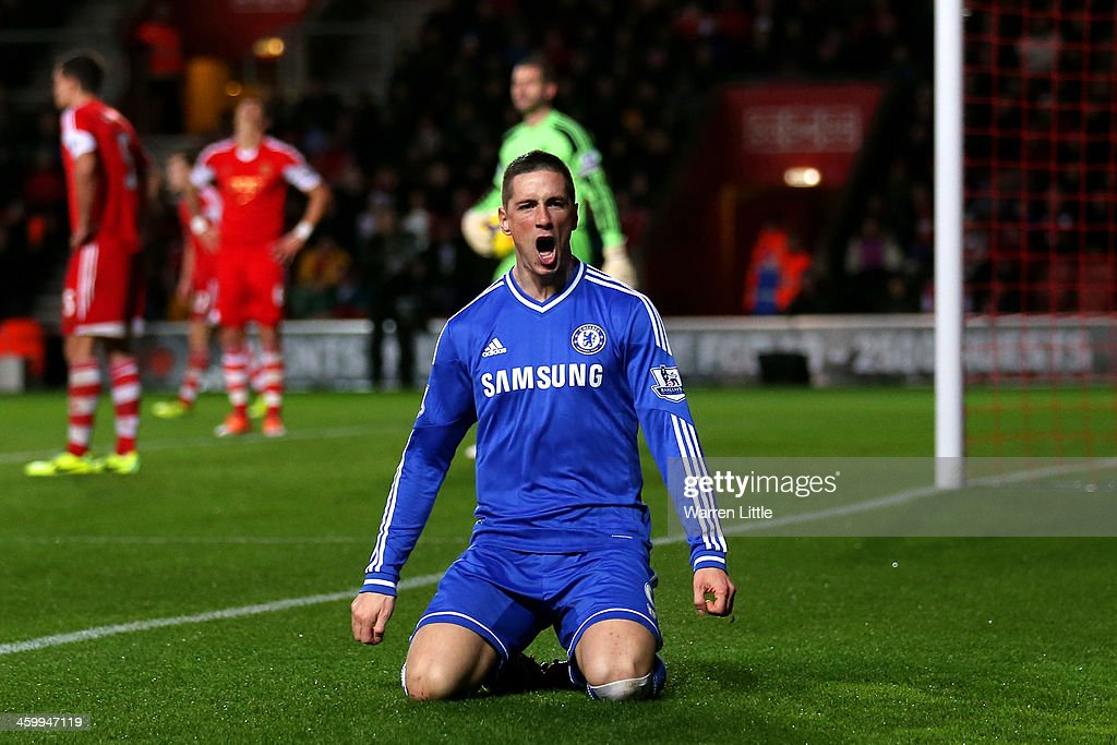Fernando Torres of Chelsea celebrates after scoring the opening goal during the Barclays Premier League match between Southampton and Chelsea at St Mary's Stadium on January 1, 2014 in Southampton, England.
