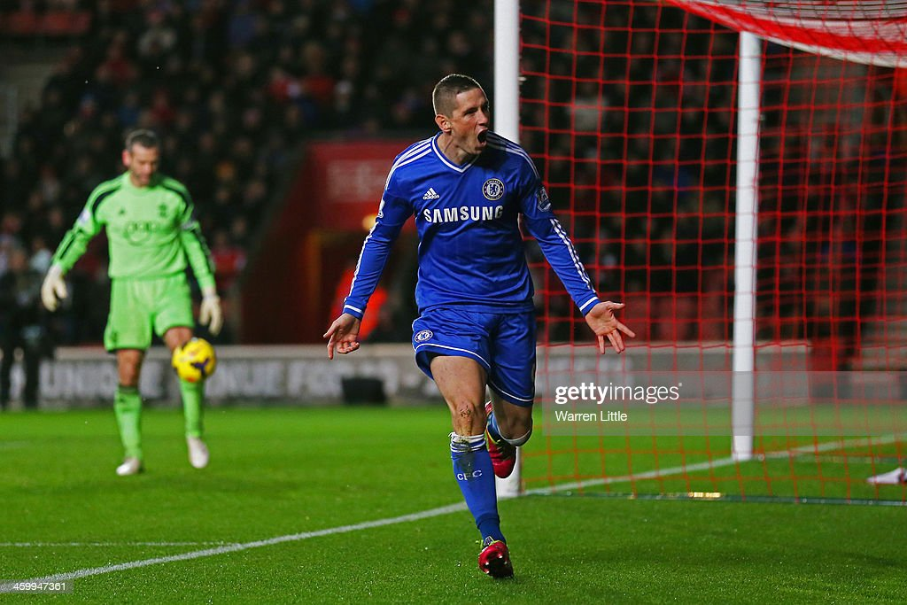 <a gi-track='captionPersonalityLinkClicked' href=/galleries/search?phrase=Fernando+Torres&family=editorial&specificpeople=194755 ng-click='$event.stopPropagation()'>Fernando Torres</a> of Chelsea celebrates after scoring the opening goal during the Barclays Premier League match between Southampton and Chelsea at St Mary's Stadium on January 1, 2014 in Southampton, England.