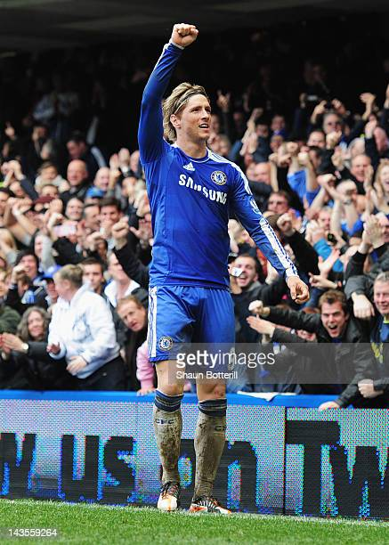 Fernando Torres of Chelsea celebrates as he scores their fifth goal and completes his hat trick during the Barclays Premier League match between...