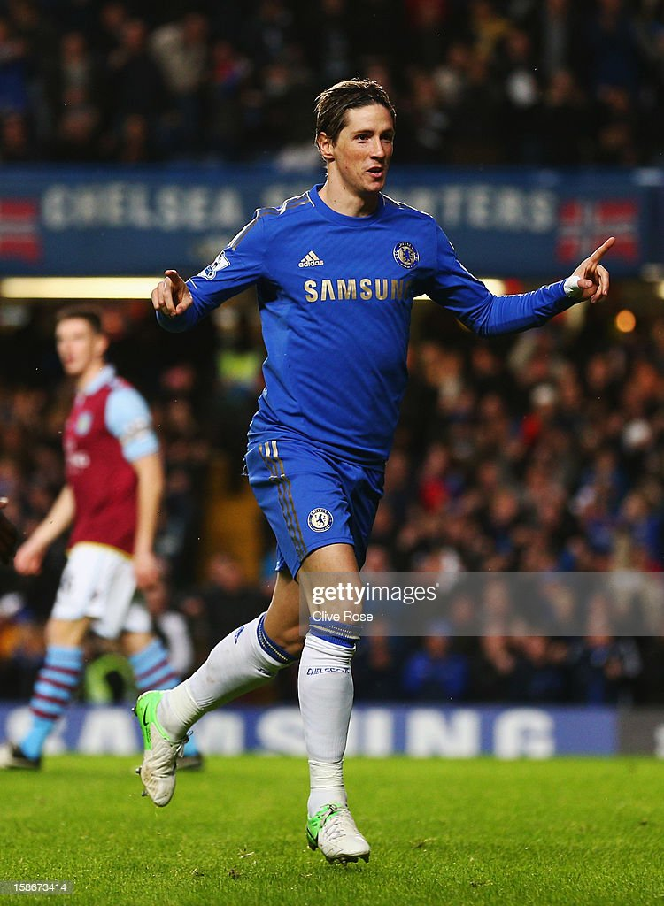 Fernando Torres of Chelsea celebrates as he scores their first goal during the Barclays Premier League match between Chelsea and Aston Villa at Stamford Bridge on December 23, 2012 in London, England.