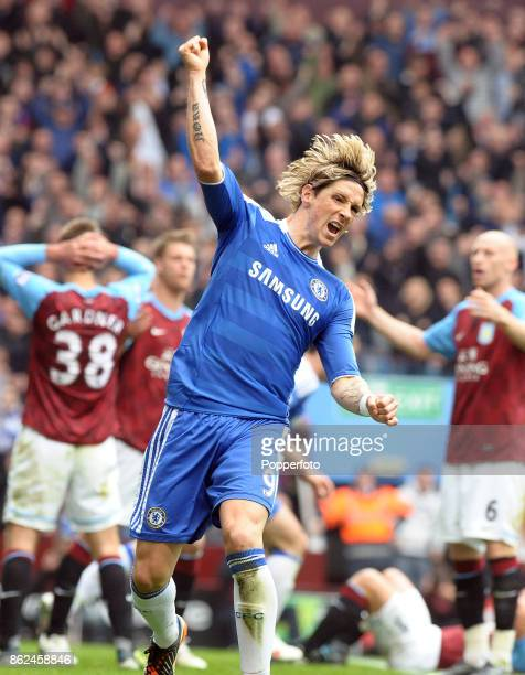 Fernando Torres of Chelsea celebrates during the Barclays Premier League match between Aston Villa and Chelsea at Villa Park on March 31 2012 in...