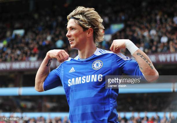 Fernando Torres of Chelsea celebrates his goal during the Barclays Premier League match between Aston Villa and Chelsea at Villa Park on March 31...