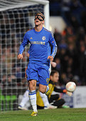 Fernando Torres of Chelsea celebrates his second during the UEFA Europa League Quarter Final 1st Leg match between Chelsea and FC Rubin Kazan at...