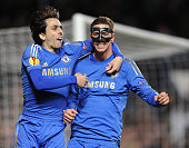 Fernando Torres of Chelsea celebrates his second goal with Yossi Benayoun during the UEFA Europa League Quarter Final 1st Leg match between Chelsea...