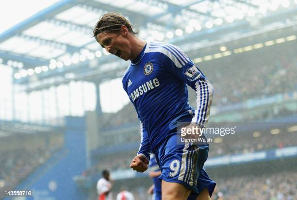 Fernando Torres of Chelsea celebrates scoring his first goal during the Barclays Premier League match between Chelsea and Queens Park Rangers at...