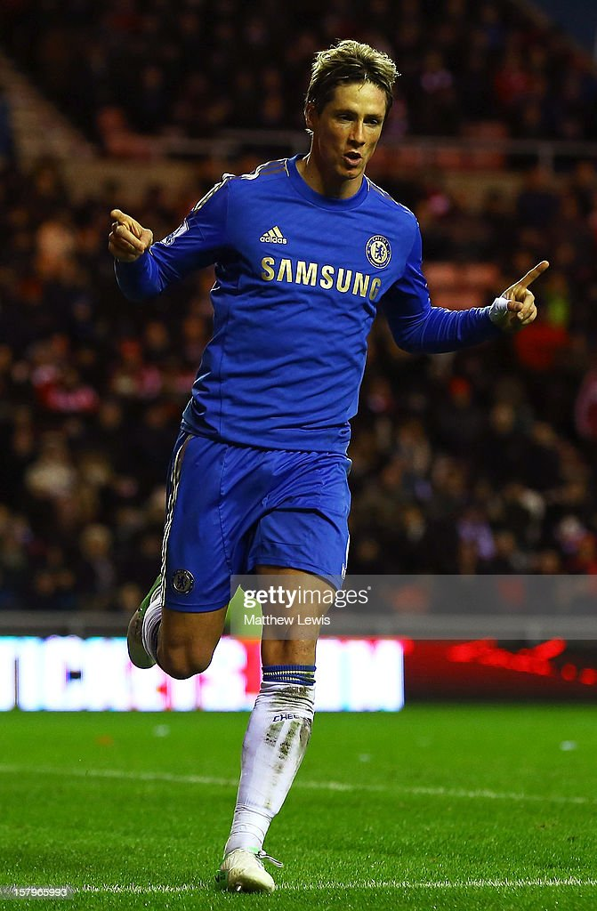 <a gi-track='captionPersonalityLinkClicked' href=/galleries/search?phrase=Fernando+Torres&family=editorial&specificpeople=194755 ng-click='$event.stopPropagation()'>Fernando Torres</a> of Chelsea celebrates scoring his second goal from the penalty spot during the Barclays Premier League match between Sunderland and Chelsea at Stadium of Light on December 8, 2012 in Sunderland, England.