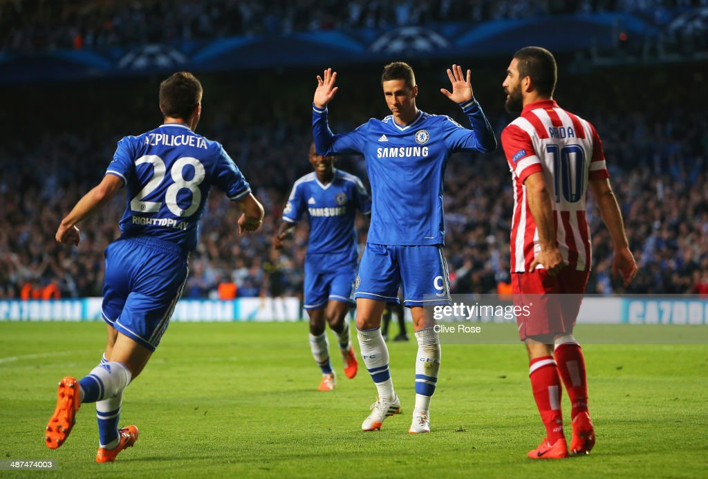 Fernando Torres of Chelsea celebrates scoring the opening goal during the UEFA Champions League semi-final second leg match between Chelsea and Club Atletico de Madrid at Stamford Bridge on April 30, 2014 in London, England.