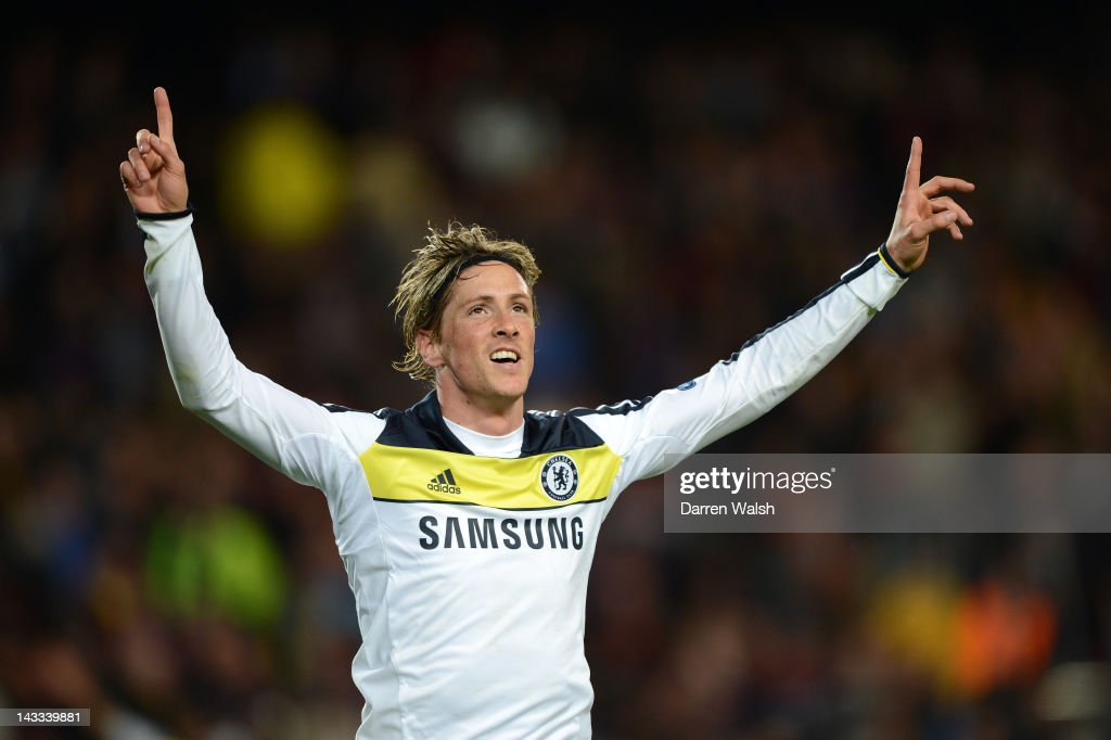 Fernando Torres of Chelsea celebrates scoring their second goal during the UEFA Champions League Semi Final, second leg match between FC Barcelona and Chelsea FC at Camp Nou on April 24, 2012 in Barcelona, Spain.