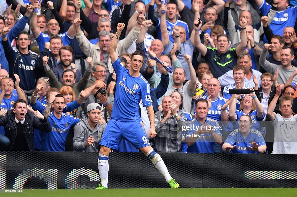 Fernando Torres of Chelsea celebrates scoring their second goal during the Barclays Premier League match between Chelsea and Everton at Stamford Bridge on May 19, 2013 in London, England.