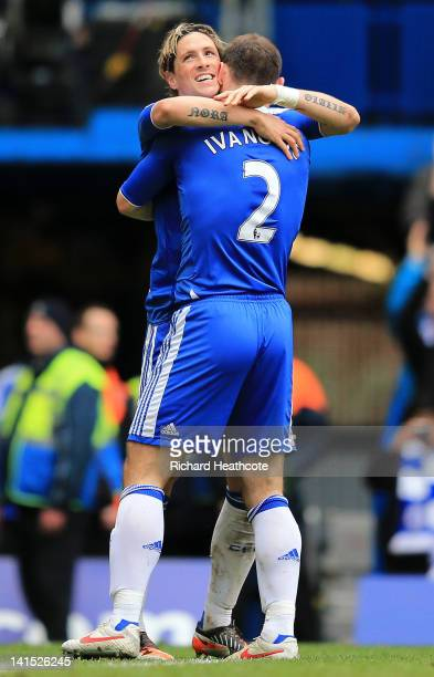 Fernando Torres of Chelsea celebrates with Branislav Ivanovic after scoring their third goal during the FA Cup sixth round match between Chelsea and...