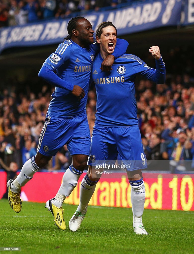 <a gi-track='captionPersonalityLinkClicked' href=/galleries/search?phrase=Fernando+Torres&family=editorial&specificpeople=194755 ng-click='$event.stopPropagation()'>Fernando Torres</a> of Chelsea (R) celebrates with <a gi-track='captionPersonalityLinkClicked' href=/galleries/search?phrase=Victor+Moses&family=editorial&specificpeople=2649383 ng-click='$event.stopPropagation()'>Victor Moses</a> as he scores their first goal during the Barclays Premier League match between Chelsea and Aston Villa at Stamford Bridge on December 23, 2012 in London, England.
