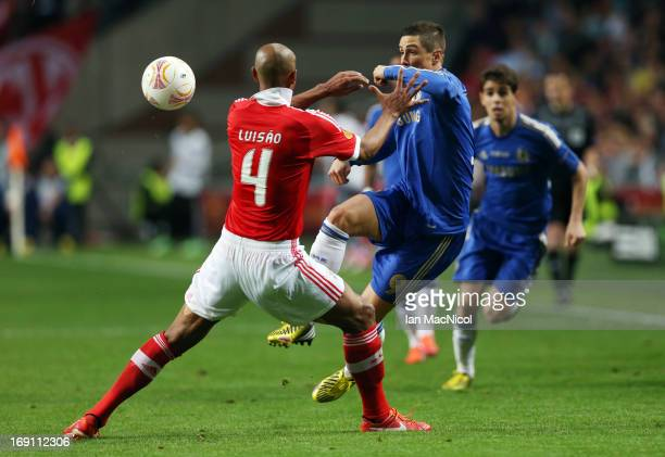 Fernando Torres of Chelsea competes with Luisao of SL Benfica during the Europa League Final match between Chelsea and SL Benfica at The Amsterdam...