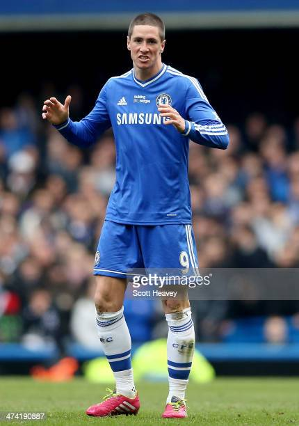 Fernando Torres of Chelsea during the Barclays Premier League match between Chelsea and Everton at Stamford Bridge on February 22 2014 in London...