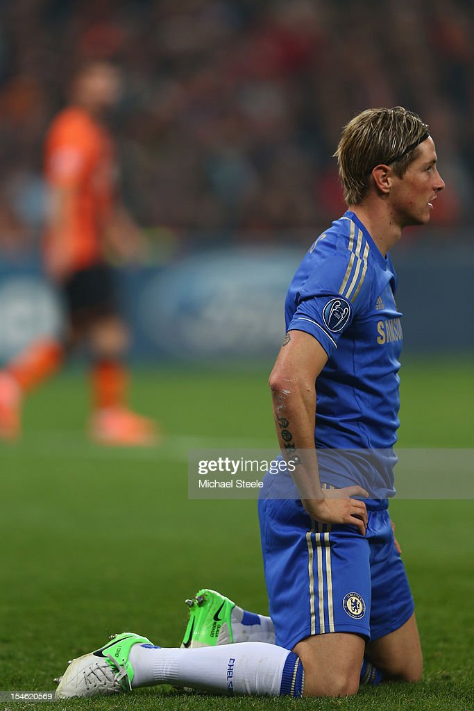 <a gi-track='captionPersonalityLinkClicked' href=/galleries/search?phrase=Fernando+Torres&family=editorial&specificpeople=194755 ng-click='$event.stopPropagation()'>Fernando Torres</a> of Chelsea during the UEFA Champions League Group E match between Shakhtar Donetsk and Chelsea at the Donbass Arena on October 23, 2012 in Donetsk, Ukraine.