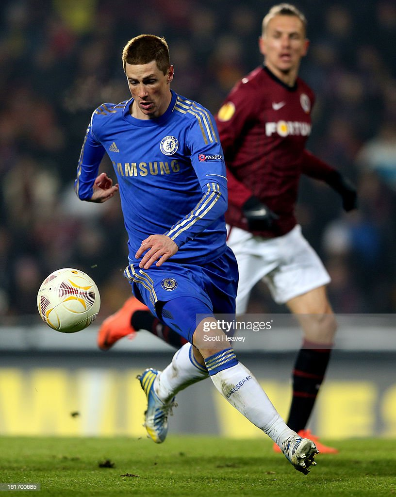 <a gi-track='captionPersonalityLinkClicked' href=/galleries/search?phrase=Fernando+Torres&family=editorial&specificpeople=194755 ng-click='$event.stopPropagation()'>Fernando Torres</a> of Chelsea during the UEFA Europa League match between AC Sparta Praha and Chelsea on February 14, 2013 in Prague, Czech Republic.