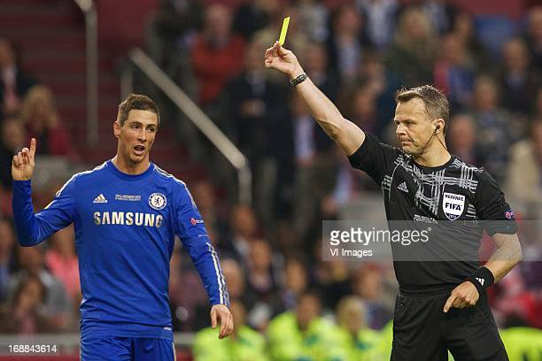 Fernando Torres of Chelsea FC referee Bjorn Kuipers during the UEFA Europa League final match between SL Benfica and Chelsea FC on May 15 2013 at the...
