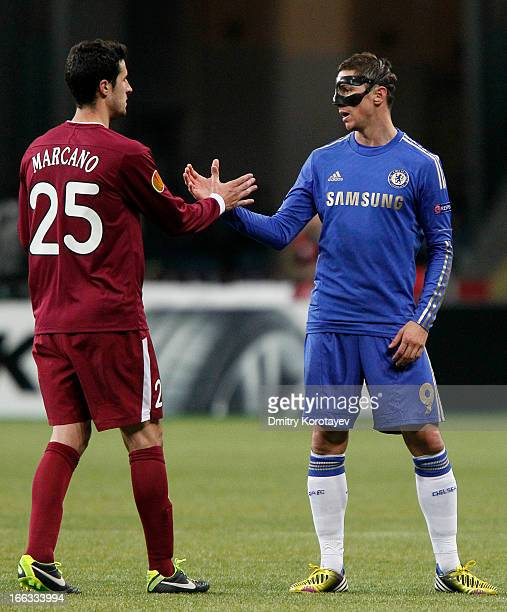 Fernando Torres of Chelsea FC shakes hands to Ivan Marcano of FC Rubin Kazan after the UEFA Europa League quarter final second leg match between FC...