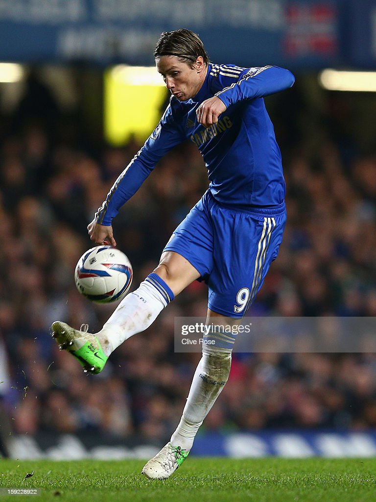Fernando Torres of Chelsea in action during the Capital One Cup Semi-Final first leg match between Chelsea and Swansea City at Stamford Bridge on January 9, 2013 in London, England.
