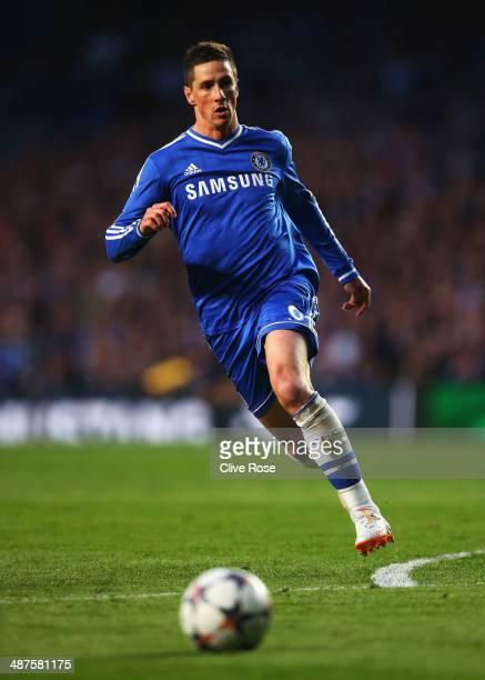 Fernando Torres of Chelsea in action during the UEFA Champions League semifinal second leg match between Chelsea and Club Atletico de Madrid at...