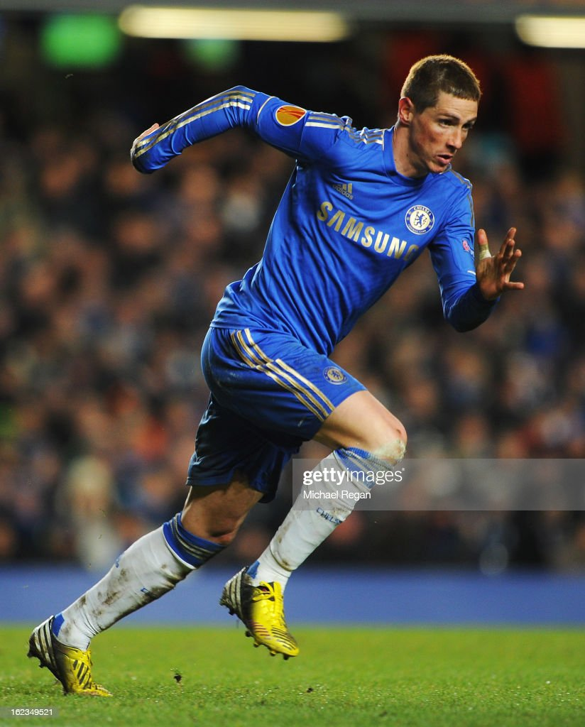 Fernando Torres of Chelsea in action during the UEFA Europa League Round of 32 second leg match between Chelsea and Sparta Praha at Stamford Bridge on February 21, 2013 in London, England.