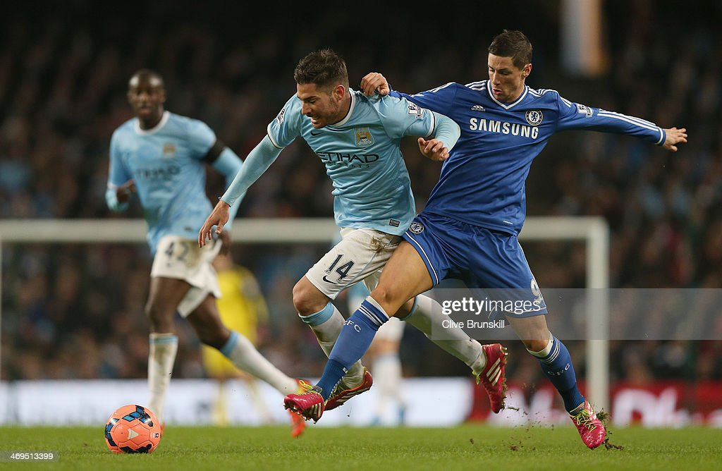 <a gi-track='captionPersonalityLinkClicked' href=/galleries/search?phrase=Fernando+Torres&family=editorial&specificpeople=194755 ng-click='$event.stopPropagation()'>Fernando Torres</a> of Chelsea in action with Javi Garcia of Manchester City during the FA Cup Fifth Round match sponsored by Budweiser between Manchester City and Chelsea at Etihad Stadium on February 15, 2014 in Manchester, England.